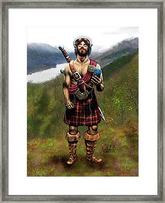Celtic Warrior With An Ipod Framed Print by Nigel Andreola