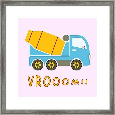 Cement Mixer Truck Framed Print by Gaspar Avila