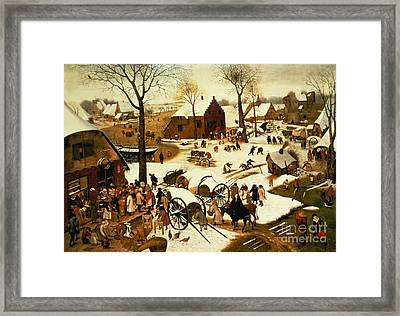 Census At Bethlehem Framed Print by Pieter the Elder Bruegel