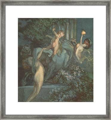 Centaur Nymphs And Cupid Framed Print by Franz von Bayros