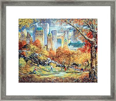 Central Park Fall Framed Print by Kamil Kubik