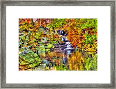 Central Park New York City Waterfall In Autumn Framed Print by Geraldine Scull