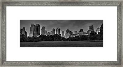 Central Park Skyline Pano 001 Bw Framed Print by Lance Vaughn