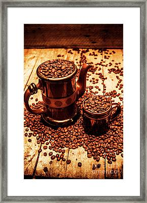 Ceramic Coffee Pot And Mug Overflowing With Beans Framed Print by Jorgo Photography - Wall Art Gallery