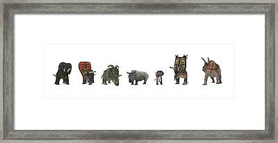 Cerapod Dinosaurs Compared To A Rhino Framed Print by Walter Myers