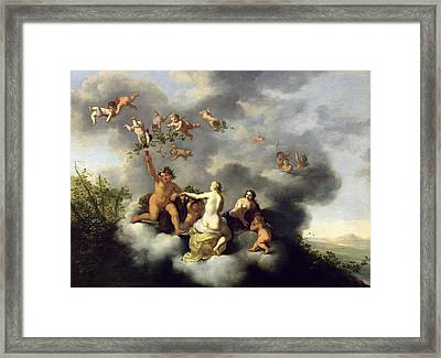 Ceres Bacchus Venus And Cupid  Framed Print by Cornelis van Poelenburgh
