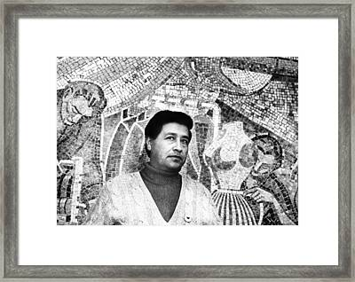 Cesar Chavez Stands In Front Of The Framed Print by Everett