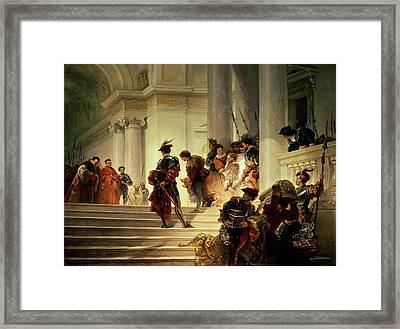 Cesare Borgia Leaving The Vatican Framed Print by Giuseppe Lorenzo Gatteri