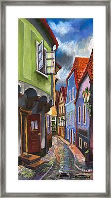 Cesky Krumlov Old Street 1 Framed Print by Yuriy  Shevchuk