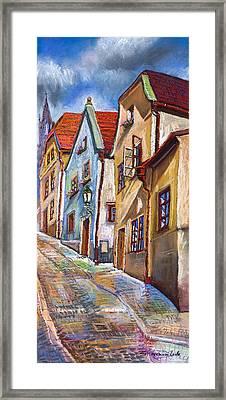 Cesky Krumlov Old Street 2 Framed Print by Yuriy  Shevchuk