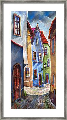 Cesky Krumlov Old Street Framed Print by Yuriy  Shevchuk