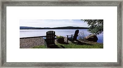 Chairs At The Lakeside, Raquette Lake Framed Print by Panoramic Images