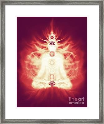 Chakras Symbols And Energy Flow On Human Body Framed Print by Oleksiy Maksymenko