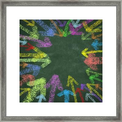 Chalk Drawing Colorful Arrows Framed Print by Setsiri Silapasuwanchai