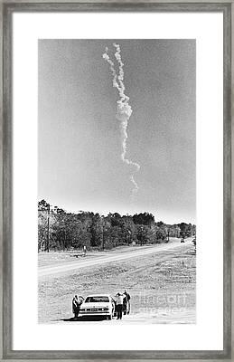 Challenger Explosion Framed Print by Mark D. Phillips