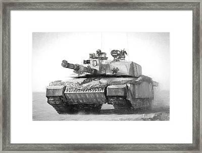 Challenger Tank Drawing Framed Print by Roy Pedersen
