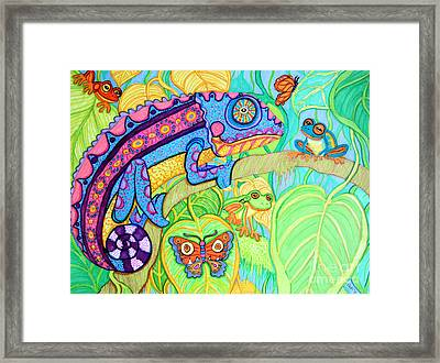 Chamelion And Rainforest Frogs Framed Print by Nick Gustafson