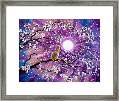 Champagne Tabby Cat In Cherry Blossoms Framed Print by Laura Iverson