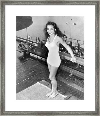 Champion Diver Vicki Draves Framed Print by Underwood Archives