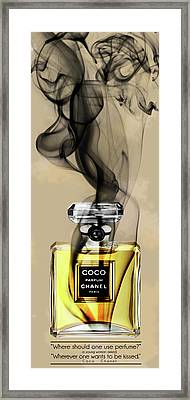 Chanel Coco Perfume Bottle And Quote 2  - By Diana Van Framed Print by Diana Van