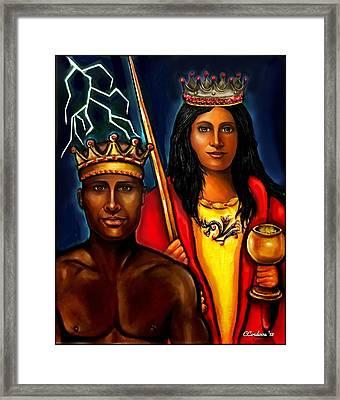 Chango And Saint Barbara Work In Progress Framed Print by Carmen Cordova