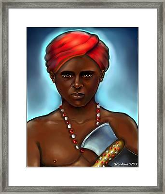 Chango And Double Edged Axe Framed Print by Carmen Cordova