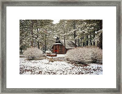 Chapel In The Snow Framed Print by Marty Koch