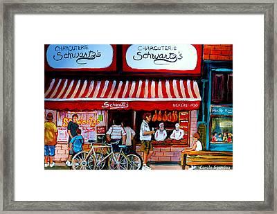Charcuterie Schwartz's Deli Montreal Framed Print by Carole Spandau