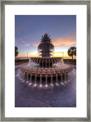 Charelston Pineapple Fountain Sunrise Framed Print by Dustin K Ryan