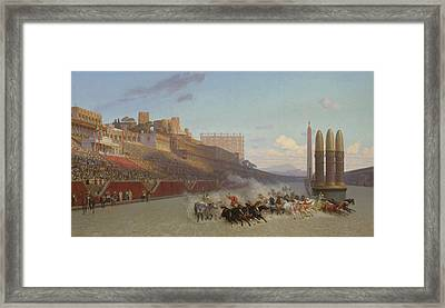 Chariot Race Framed Print by Jean Leon Gerome