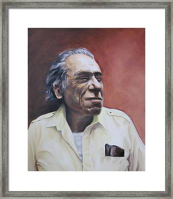 Charles Bukowski-portrait Framed Print by Danijel Korosec