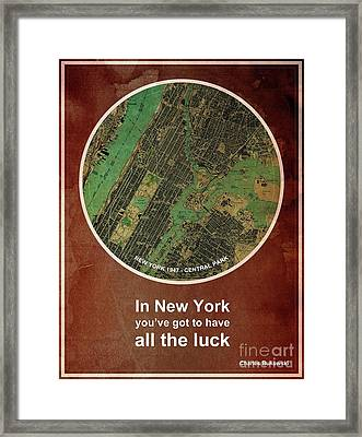 Charles Bukowski Quote Of New York City Framed Print by Pablo Franchi