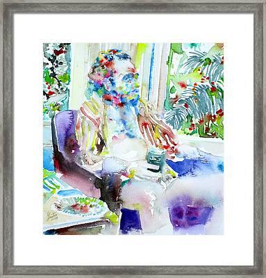 Charles Bukowski - Watercolor Portrait.5 Framed Print by Fabrizio Cassetta