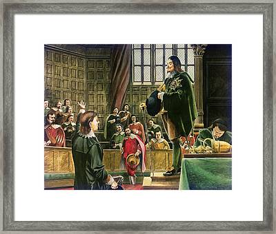Charles I In The House Of Commons Framed Print by English School