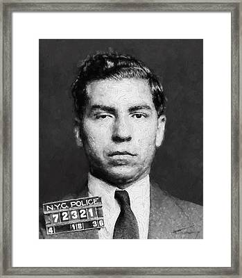 Charles Lucky Luciano  Mugshot Painterly Framed Print by Daniel Hagerman