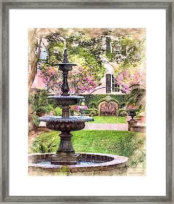 Charleston Fountain Framed Print by Melissa Bittinger