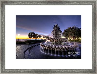 Charleston Pineapple Fountain Sunrise Framed Print by Dustin K Ryan