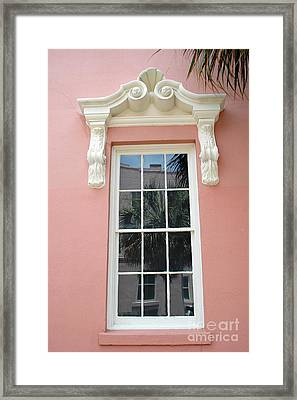 Charleston Pink Coral White Architecture - Charleston Historical District Architecture - Mills House Framed Print by Kathy Fornal