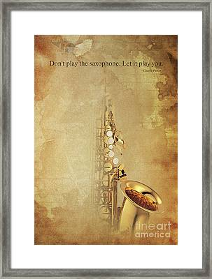 Charlie Parker Saxophone Brown Vintage Poster And Quote, Gift For Musicians Framed Print by Pablo Franchi