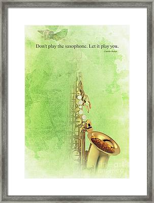 Charlie Parker Saxophone Green Vintage Poster And Quote, Gift For Musicians Framed Print by Pablo Franchi