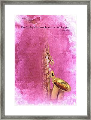 Charlie Parker Saxophone Light Red Vintage Poster And Quote, Gift For Musicians Framed Print by Pablo Franchi