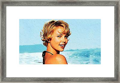 Charlize Theron Framed Print by Queso Espinosa