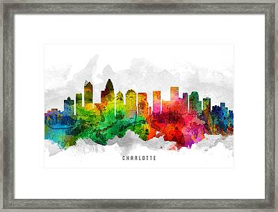 Charlotte North Carolina Cityscape 12 Framed Print by Aged Pixel