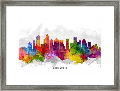 Charlotte North Carolina Cityscape 13 Framed Print by Aged Pixel
