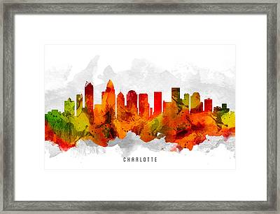 Charlotte North Carolina Cityscape 15 Framed Print by Aged Pixel