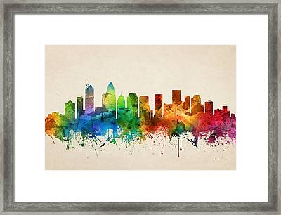Charlotte North Carolina Skyline 05 Framed Print by Aged Pixel