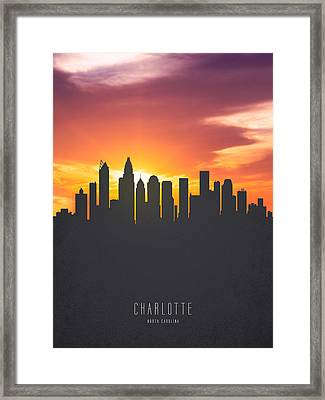 Charlotte North Carolina Sunset Skyline Framed Print by Aged Pixel