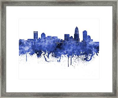 Charlotte Skyline In Blue Watercolor On White Background Framed Print by Pablo Romero