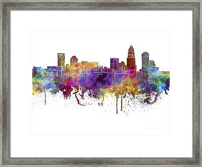 Charlotte Skyline In Watercolor On White Background Framed Print by Pablo Romero