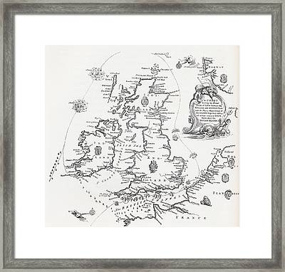 Chart Of The Spanish Armada S Course In Framed Print by Vintage Design Pics